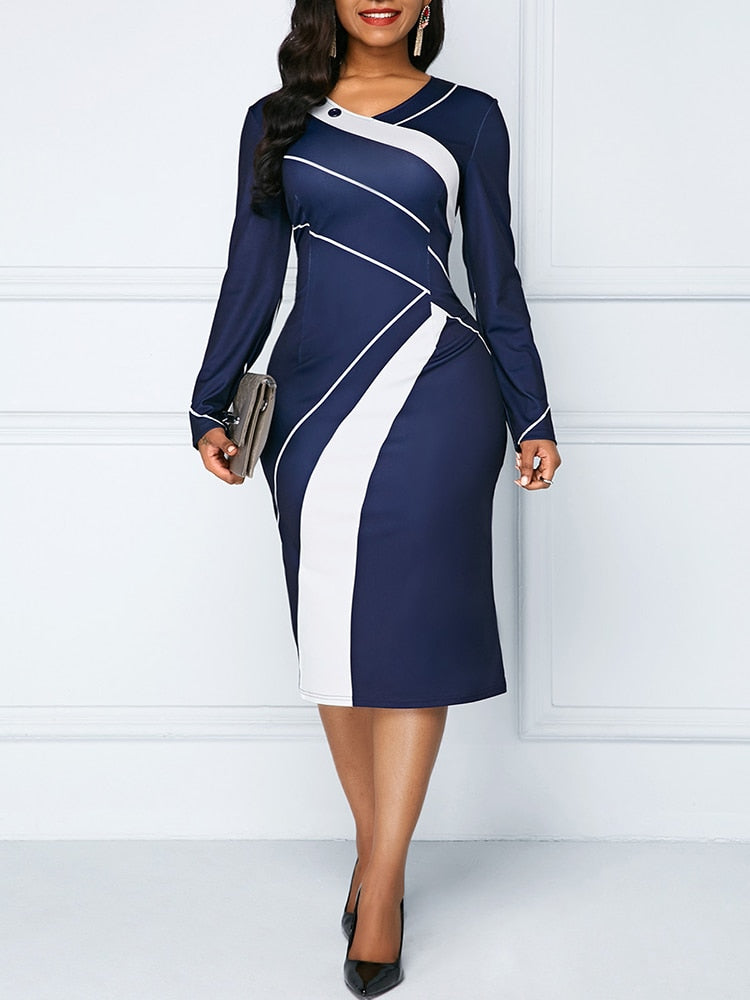 Office Lady Geometric O-neck Women Dress Hip Wrapped