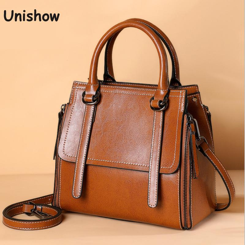 Split Leather Women Handbags Oil Wax Leather Women Shoulder Bag
