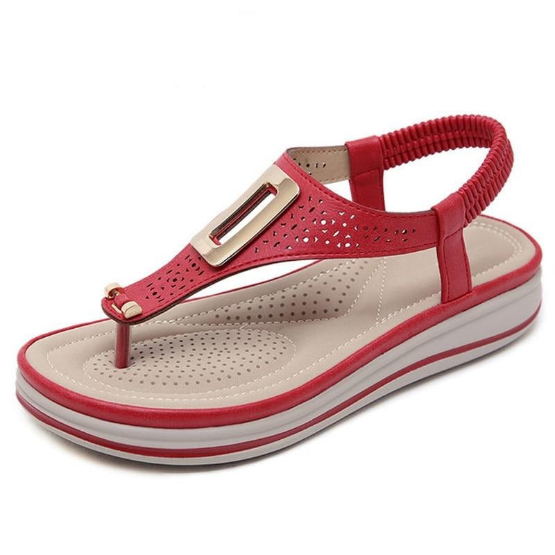 Summer Platform Flip Flops Women Solid Color Beach Sandals Soft