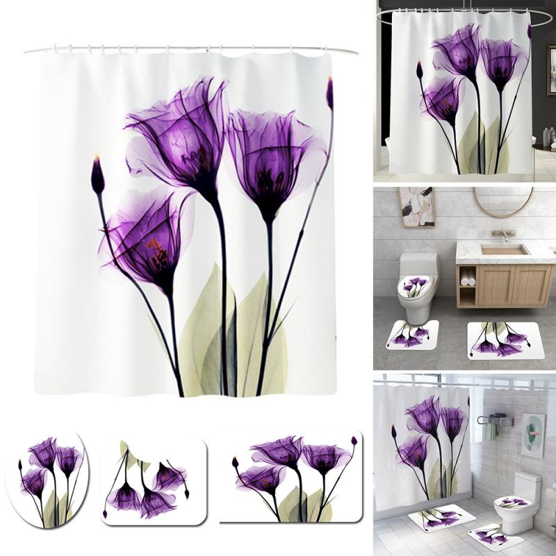 Purple Lotus Set Shower Curtain Print Pattern Bathroom Shower Curtain Base Carpet Cover Toilet Cover Mat Anti-slip Bathroom Mat - Current Trend Sales