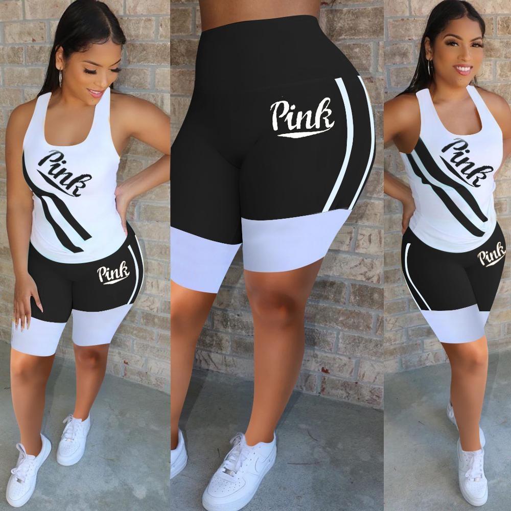 Summer Women Tracksuit Sport Casual Two Piece Set Pink Letter Print Sleeveless Crop Tops Tshirt Biker Shorts Suit Female Outfits - Current Trend Sales