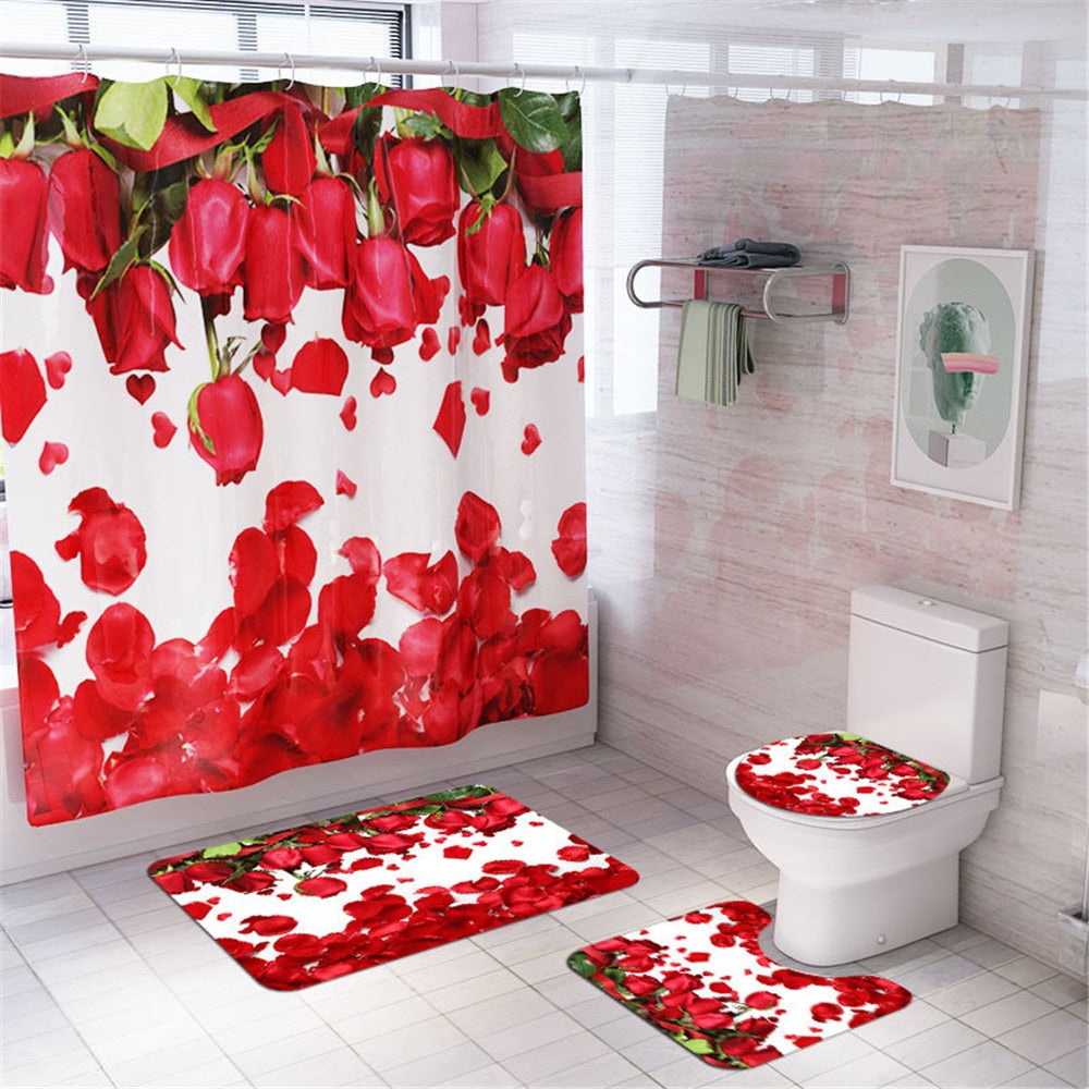 Flower Pattern Print Bathroom Shower Curtain Set Pedestal Rug