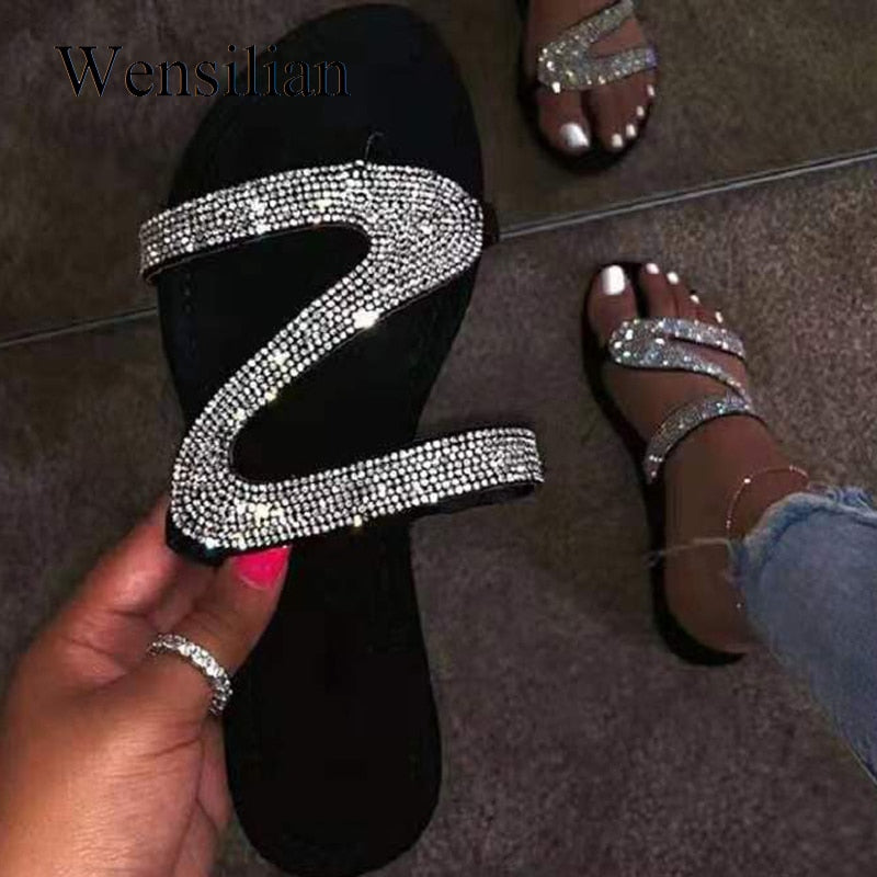 Women Slippers Sandals Summer Open Toe Slides Non-slip Flat