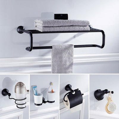 Solid Brass Towel Rack Bath Shelves Wall Double Rods Bath Accessories Toilet Brush Holder Black Hookathroom Hardware Set - Current Trend Sales