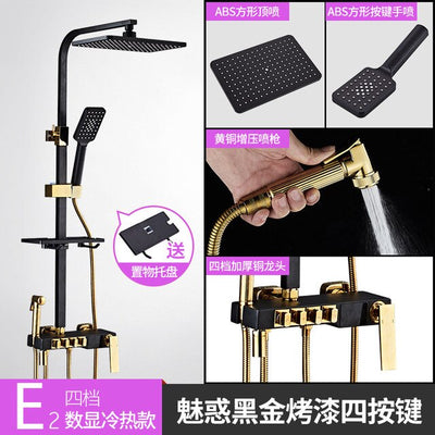 Black and Gold Shower Set Mixer Bathroom Square Temperature Display Shower Faucet Set Thermostatic Shower Faucet - Current Trend Sales