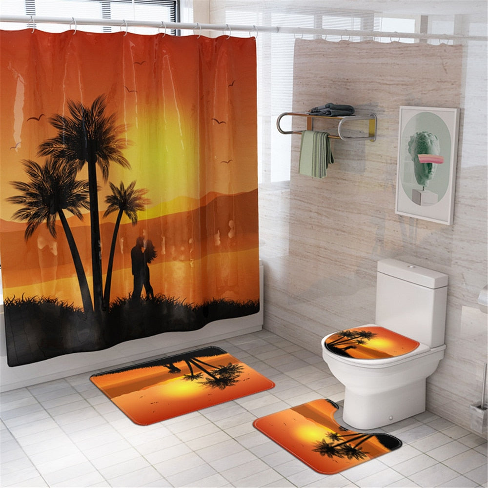 Seascape Shower Curtain Palm Tree Blue Sky Beach Bathroom Curtains