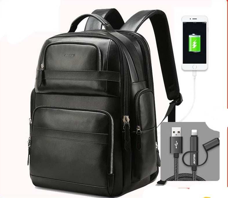 Luxury Genuine Leather Backpack Unisex Travel Laptop Backpacks