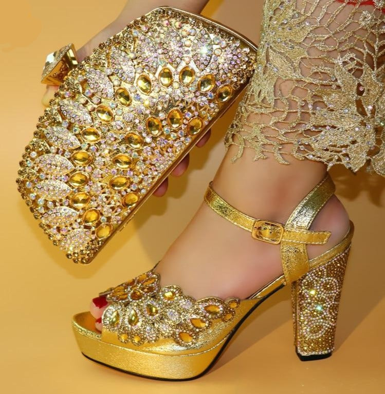 Ladies Shoes and Bag To Match Set Decorated with Rhinestone Women
