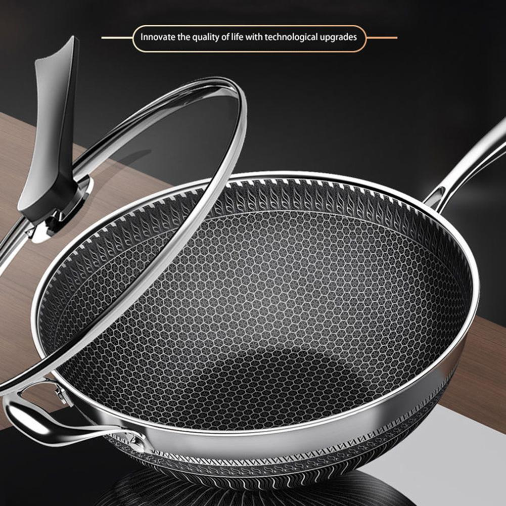 Nonstick Frying Pan Stainless Steel Wok Honeycomb Frying Pan with Glass Lid