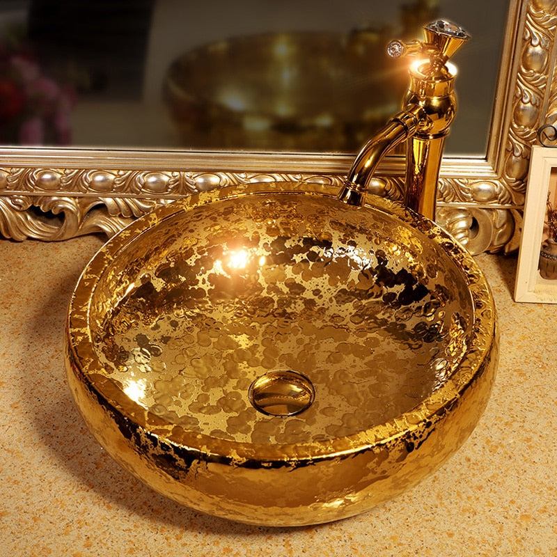 Luxury Hand-Made Ceramic Gold Glazed Porcelain Art Bathroom Wash Sink