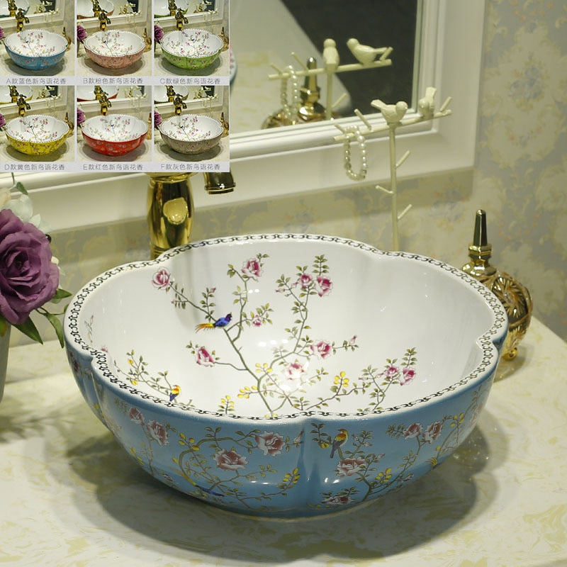 Multicolor Flower Shape Counter Top Art Wash ceramic basin sinks