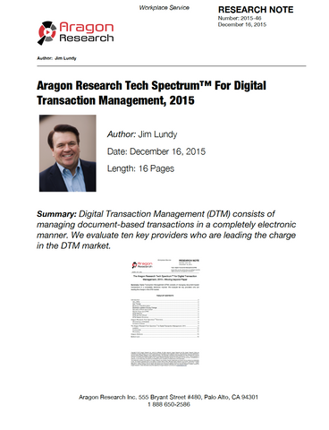 2015-46 Aragon Research Tech Spectrum Digital Transaction Management