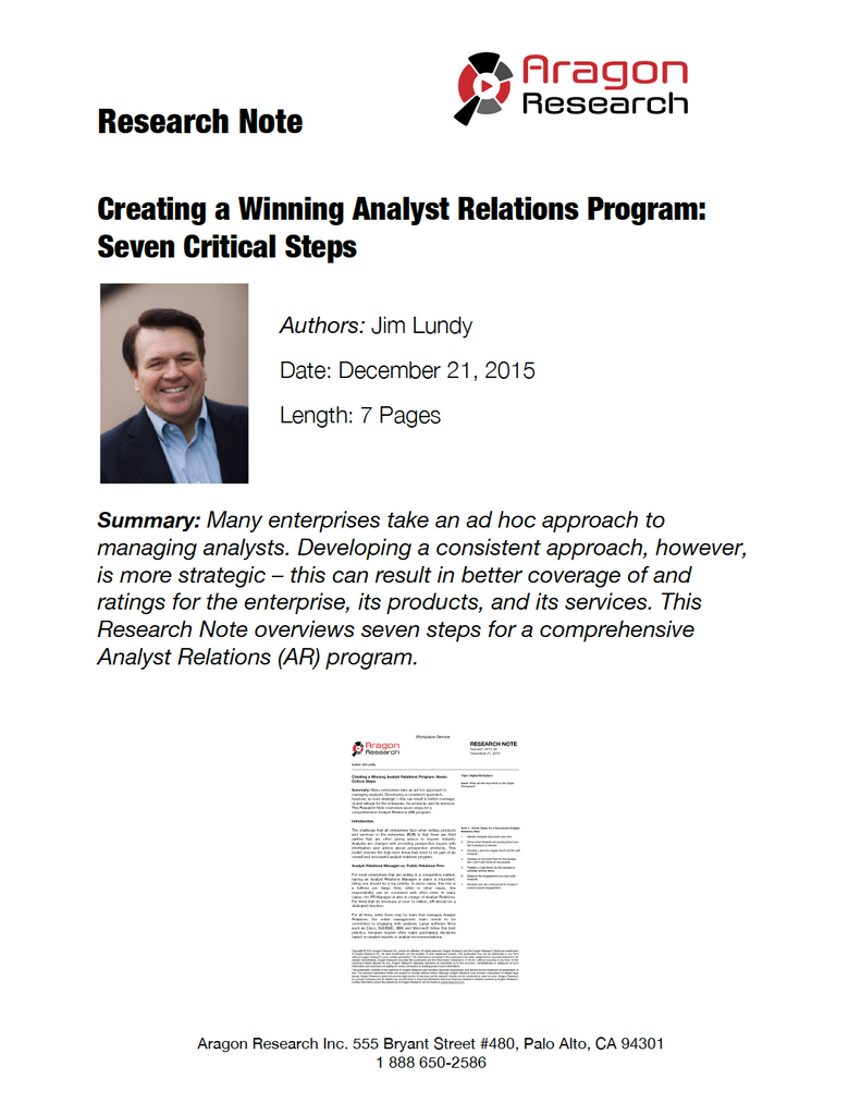 2015-50 Create a Winning Analyst Relations Program: Seven Critical Steps