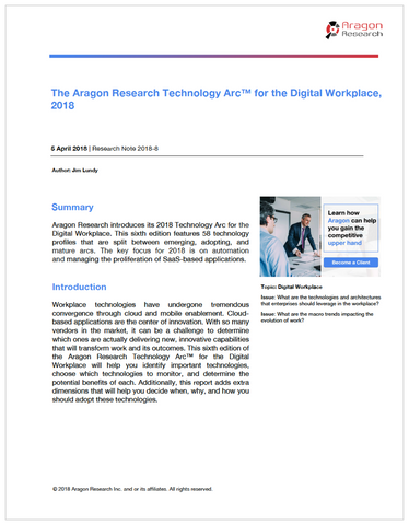 The Aragon Research Technology Arc™ for the Digital Workplace, 2018