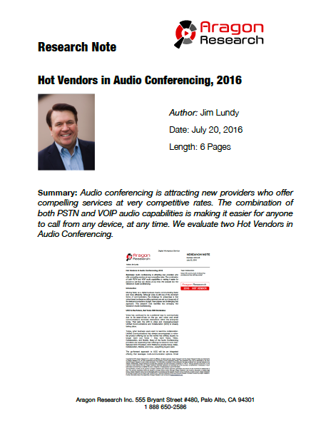 2016-25 Hot Vendors in Audio Conferencing, 2016