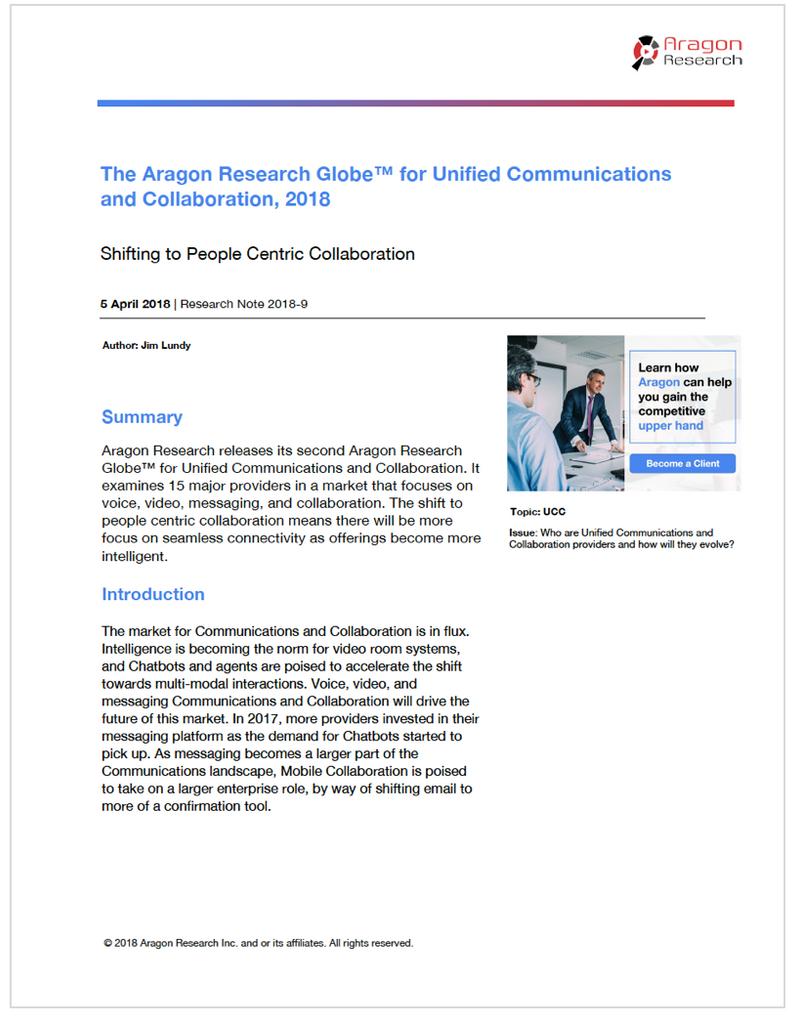 The Aragon Research Globe™ for Unified Communications and Collaboration, 2018