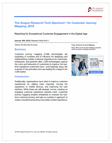 The Aragon Research Tech SpectrumTM for Customer Journey Mapping, 2019