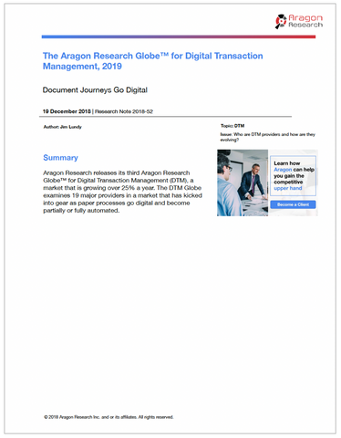 The Aragon Research Globe™ for Digital Transaction Management, 2019