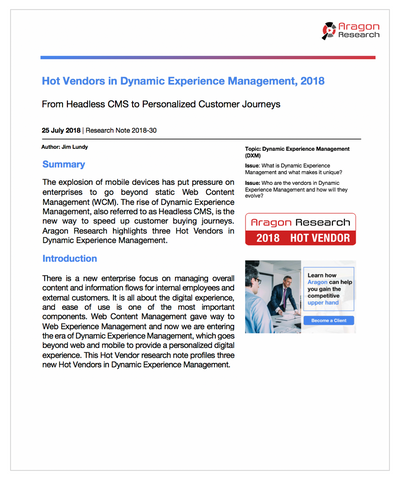 2018-30 Hot Vendors in Dynamic Experience Management, 2018