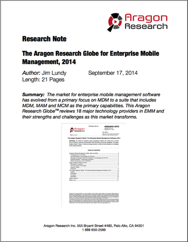 The Aragon Research Globe for Enterprise Mobile Management, 2014