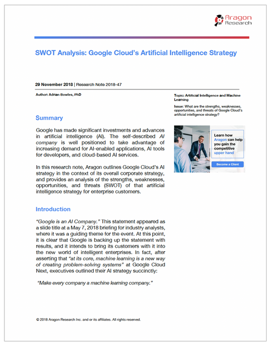 SWOT Analysis: Google Cloud's Artificial Intelligence