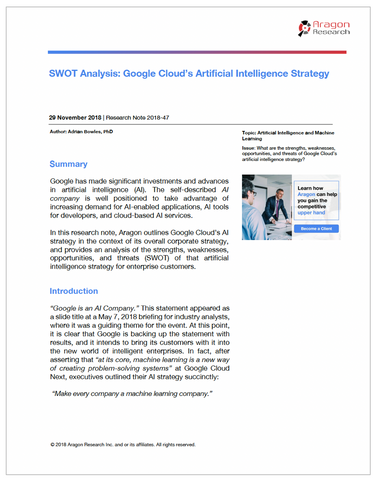 SWOT Analysis: Google Cloud's Artificial Intelligence Strategy