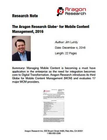 2016-45 The Aragon Research Globe™ for Mobile Content Management, 2016