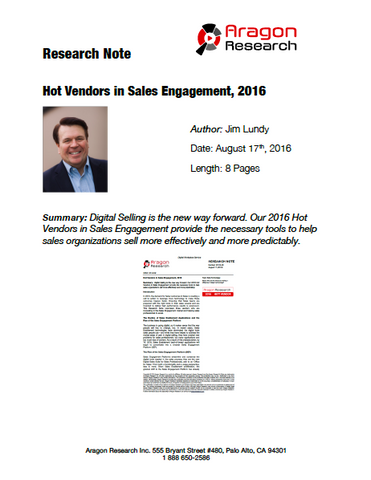 2016-29 Hot Vendors in Sales Engagement, 2016