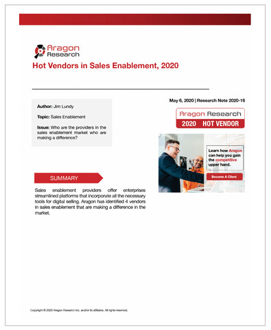 2020-16 Hot Vendors in Sales Enablement, 2020