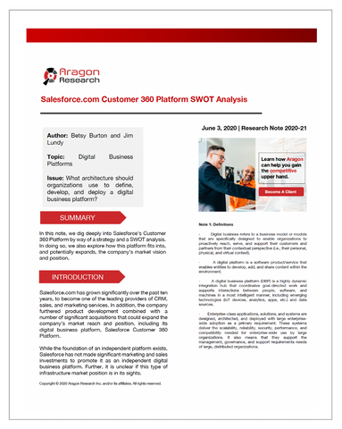 2020-21 Salesforce.com Customer 360 Platform SWOT Analysis
