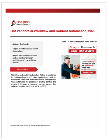 2020-24 Hot Vendors in Workflow and Content Automation, 2020