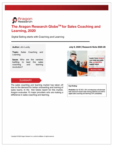 2020-26 The Aragon Research Globe for Sales Coaching and Learning, 2020