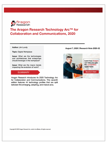 2020-32 The Aragon Research Technology Arc for Collaboration and Communications, 2020