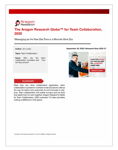 2020-37 The Aragon Research Globe for Team Collaboration, 2020