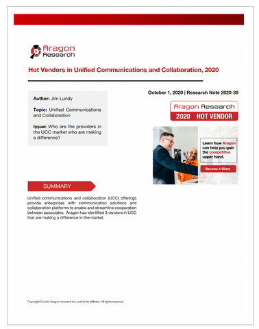 2020-39 Hot Vendors in Unified Communications and Collaboration, 2020