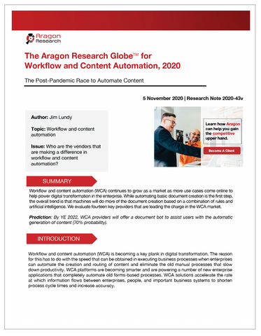 2020-43 The Aragon Research Globe for Workflow and Content Automation