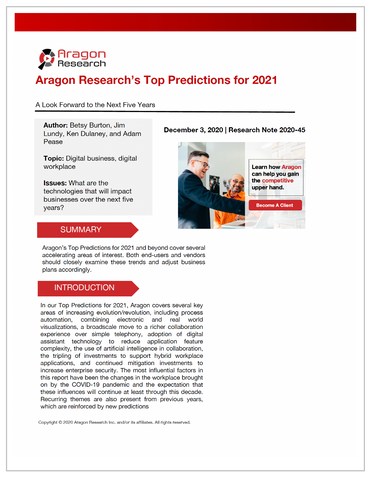 2020-45 Aragon Research's Top Predictions for 2021