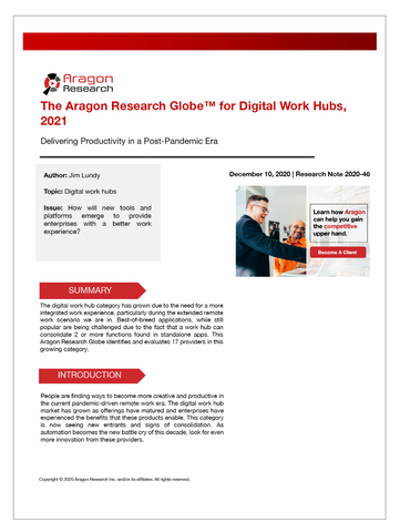 2020-46 The Aragon Research Globe™ for Digital Work Hubs, 2021