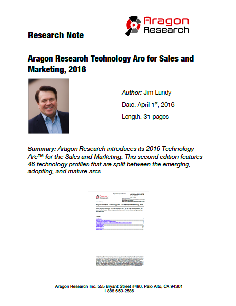 2016-8 Aragon Research Technology Arc™ for Sales and Marketing, 2016
