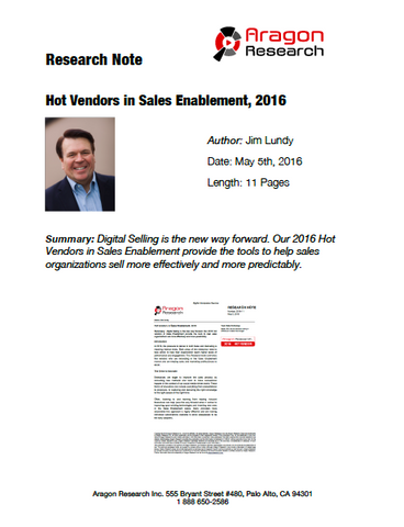 2016-11 Hot Vendors in Sales Enablement, 2016