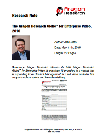 2016-13 The Aragon Research Globe™ for Enterprise Video, 2016: Managing The Explosion of Video Content