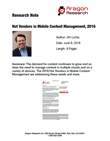 2016-18 Hot Vendors in Mobile Content Management, 2016