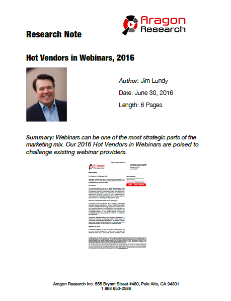 2016-20 Hot Vendors in Webinars, 2016