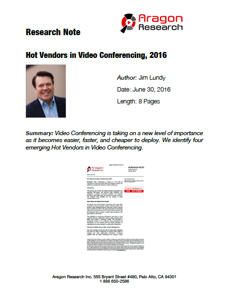 2016-21 Hot Vendors in Video Conferencing, 2016