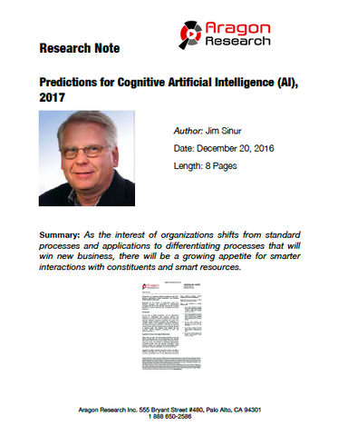 2016-49 Predictions for Cognitive Artificial Intelligence (AI), 2017: Smarter Applications, Digital Assistants, and Enabling Faster Business Outcomes
