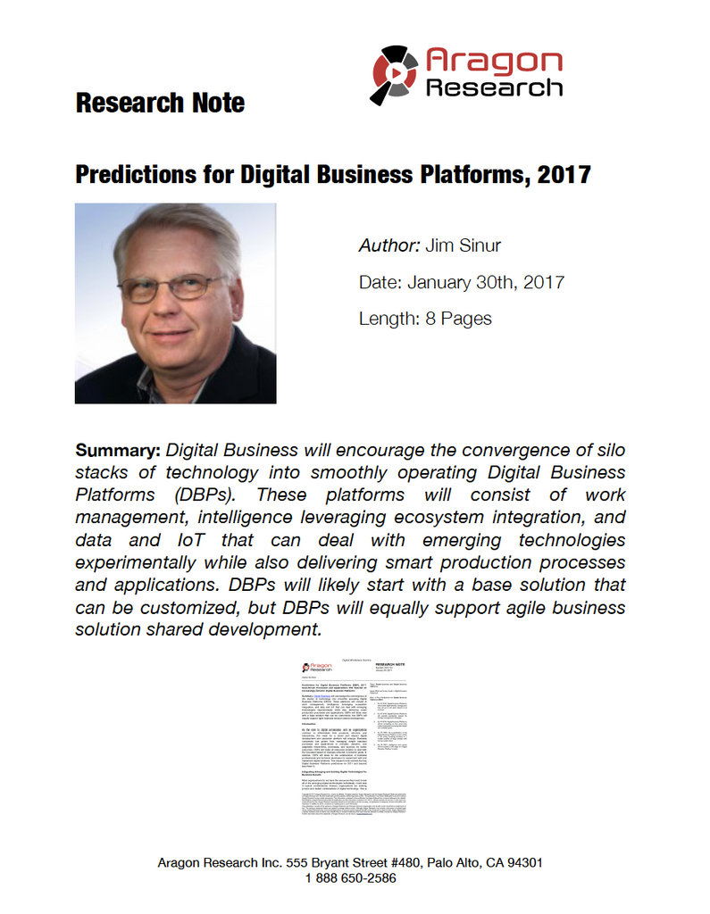 Predictions for Digital Business Platforms, 2017