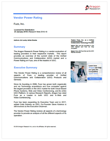2018-18 The Aragon Research Vendor Power Rating for Fuze, Inc., 2018