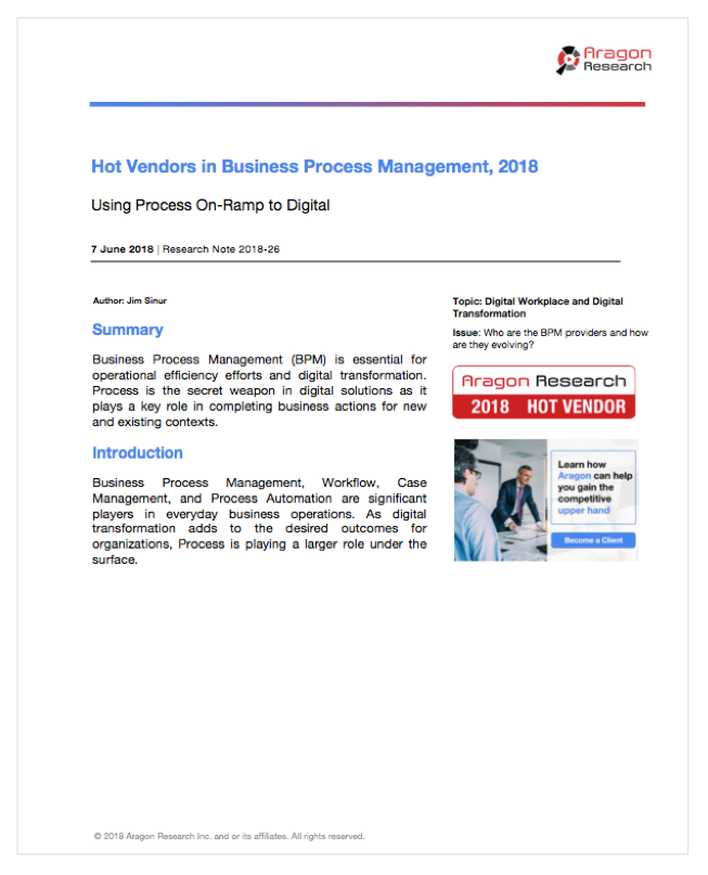 2018-26 Hot Vendors in Business Process Management, 2018