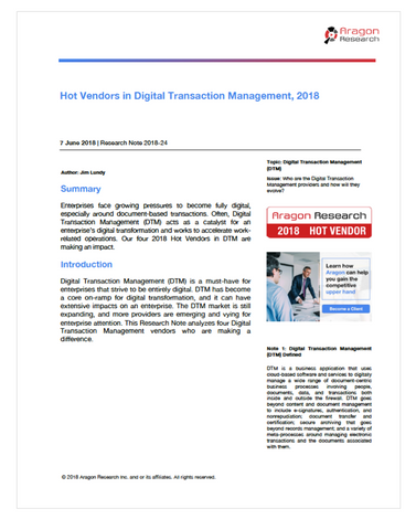 2018-24 Hot Vendors in Digital Transaction Management, 2018
