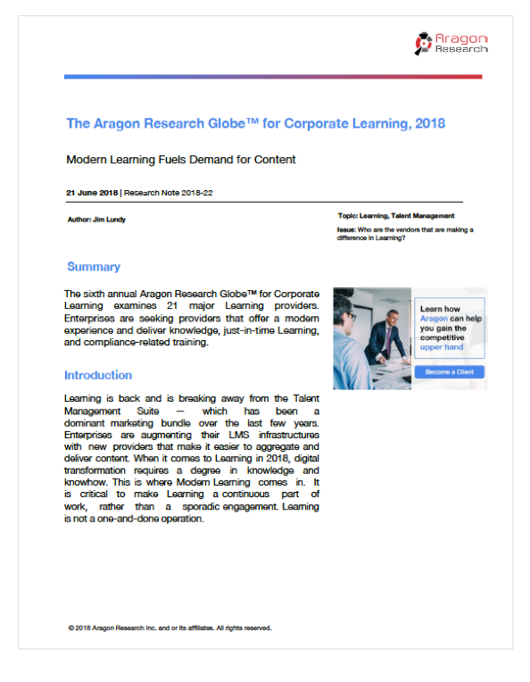 2018-22 The Aragon Research Globe for Corporate Learning, 2018